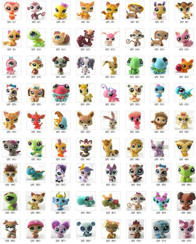 Littlest Pet Shop stuffed Animals (giraffe, cat, dog, ladybug, bambi, monkey, crush turtle) -areli