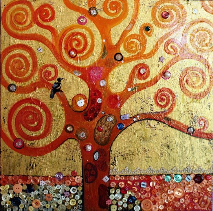 """Tree of Life (After Klimt)""  - a mixed media acrylic painting, an homage to Klimt and my love of buttons, colliding..46x46 cm $300."