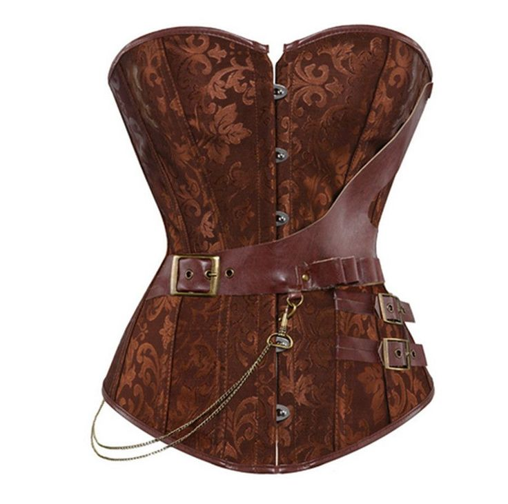 Steampunk Corset brown/black Faux Leather Burlesque Clubwear Lace up Boned with Chains Gothic Carnival Clothing S-6XL