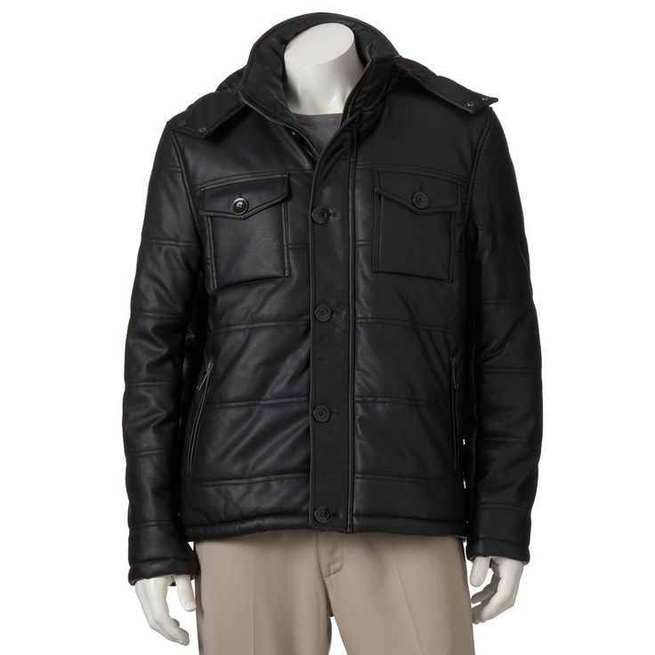 Men's Excelled Faux-Leather Puffer Jacket, Size: Medium, Black