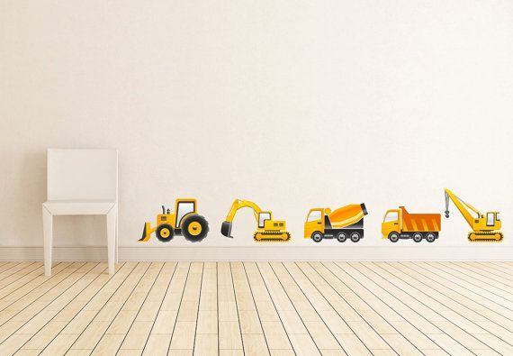 Construction Vehicles Set of 5 Wall Decal for Kids by AKWallArt