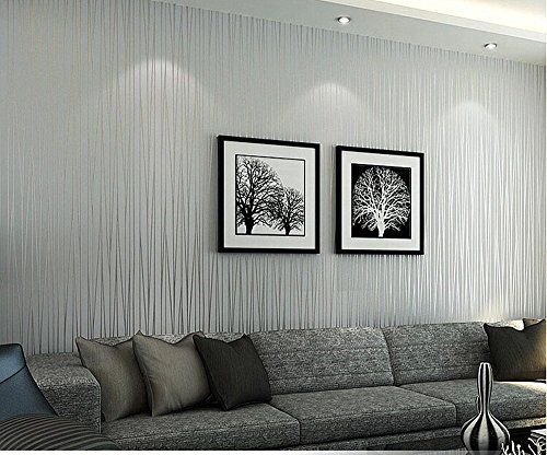 Hanmero non woven classic flocking plain stripe modern fashion wallpaper wall paper rolls for Silver wallpaper living room