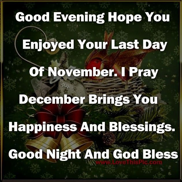 Good Evening Hope You Enjoyed Your Last DayOf November. december december quotes goodnight hello december good evening happy december hello december quotes goodbye november december quote goodbye november hello december goodbye november quotes