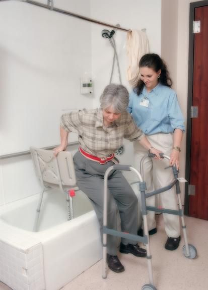 Treatment with adaptive equipment to be independent with bathing (Activities of Daily Living - ADL).