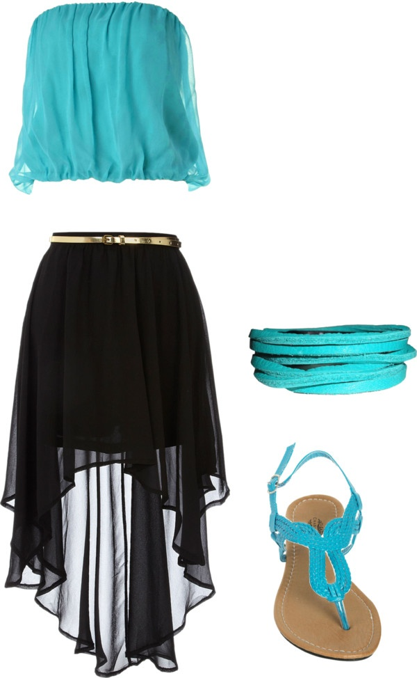 """Teal & Black Hi Low Outfit"" by juliaannestill5 on Polyvore"