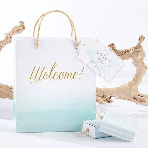 Beach Tides Welcome Bags with Personalized Gift Tags (Set of 12)