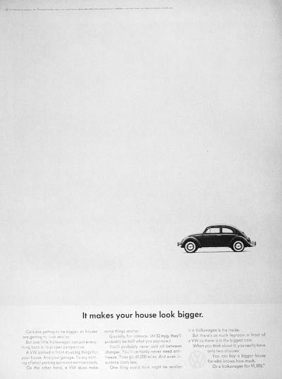 "1964 Volkswagen Beetle original vintage ad. ""It makes your house look bigger."""