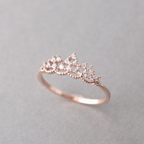 CZ Princess Tiara Ring Rose Gold from Kellinsilver.com – rose gold tiara ring, cz ring, tiara engagement ring