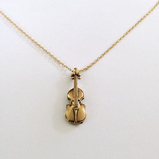 Violin necklace. one antique gold finished or one GF classical stringed instrument. 14k gold filled chain. musician gift orchestra symphony