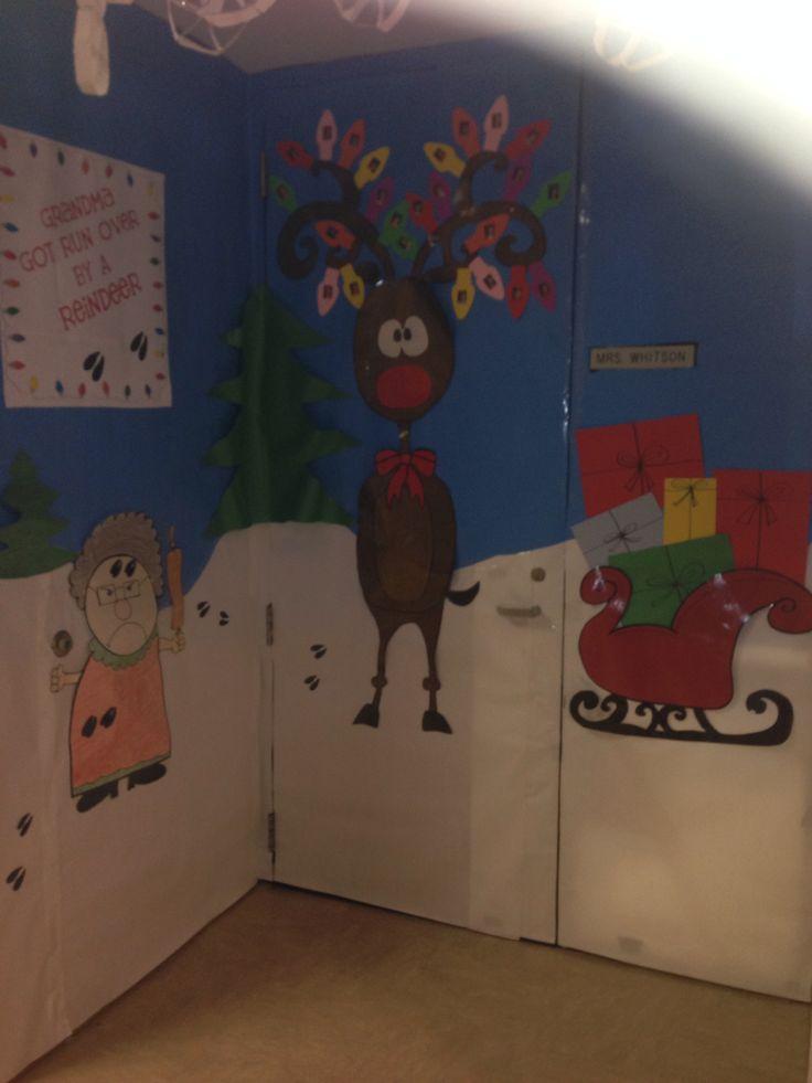 Classroom Door Decoration Ideas For Winter ~ Christmas door decorating contest quot grandma got run over