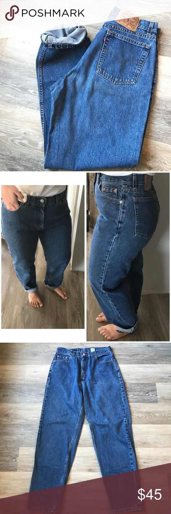"""Vintage Levi's 560 High Waisted Mom Jeans Vintage Levi's 560 High Waisted Mom Jeans  Loose Fit Straight leg Amazingly Comfortable! Medium wash  Made in U.S.A. 100% Cotton  Tagged 12 MIS M - fit tts imo, but please compare measurements   Waist 15"""" laying flat  Rise 12-12.5"""" Hips 22"""" Inseam 31"""" I'm 5'2... so I did have to roll these for try on ..  **Please see all pics and compare your personal measurements to the measurements above * With vintage wear comes fading, small stains, holes and…"""