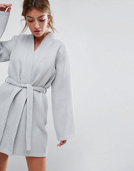 ASOS DESIGN waffle hotel robe in 100% cotton  0ca061478