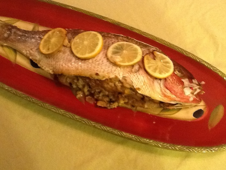 Stuffed whole red snapper super easy stuff fish with for Stuffed fish with crab meat