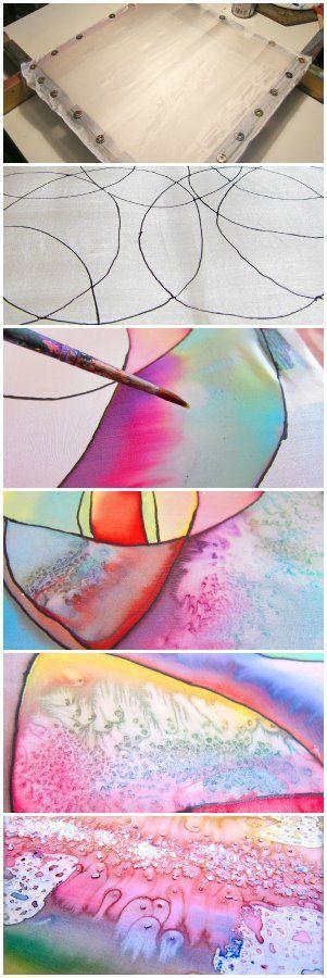 Silk Painting – Salt Technique.  www.hanih.com