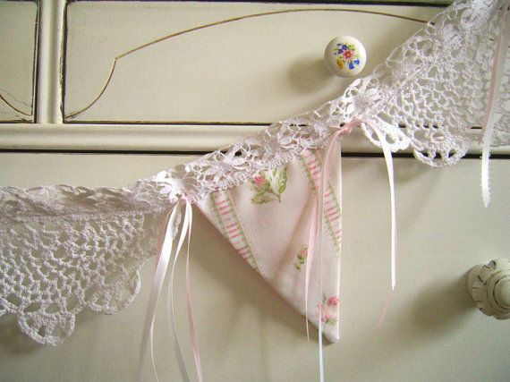 Shabby Chic Banner, Pink Roses and White Doilies, Bunting ,Nursery Decor, Victorian Valance, Baby Shower, Wedding or Party Decor