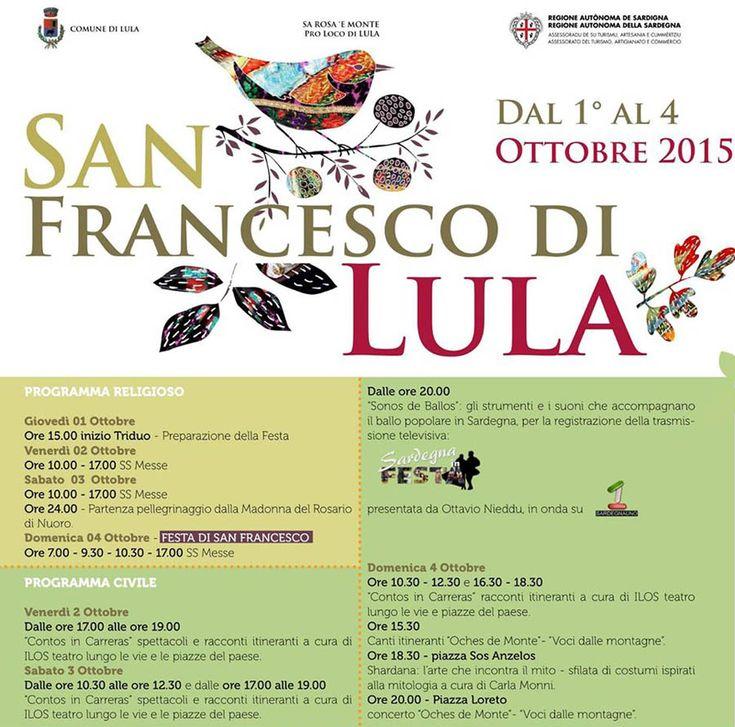 FESTA DI SAN FRANCESCO DA LULA – 1-4 OTTOBRE 2015
