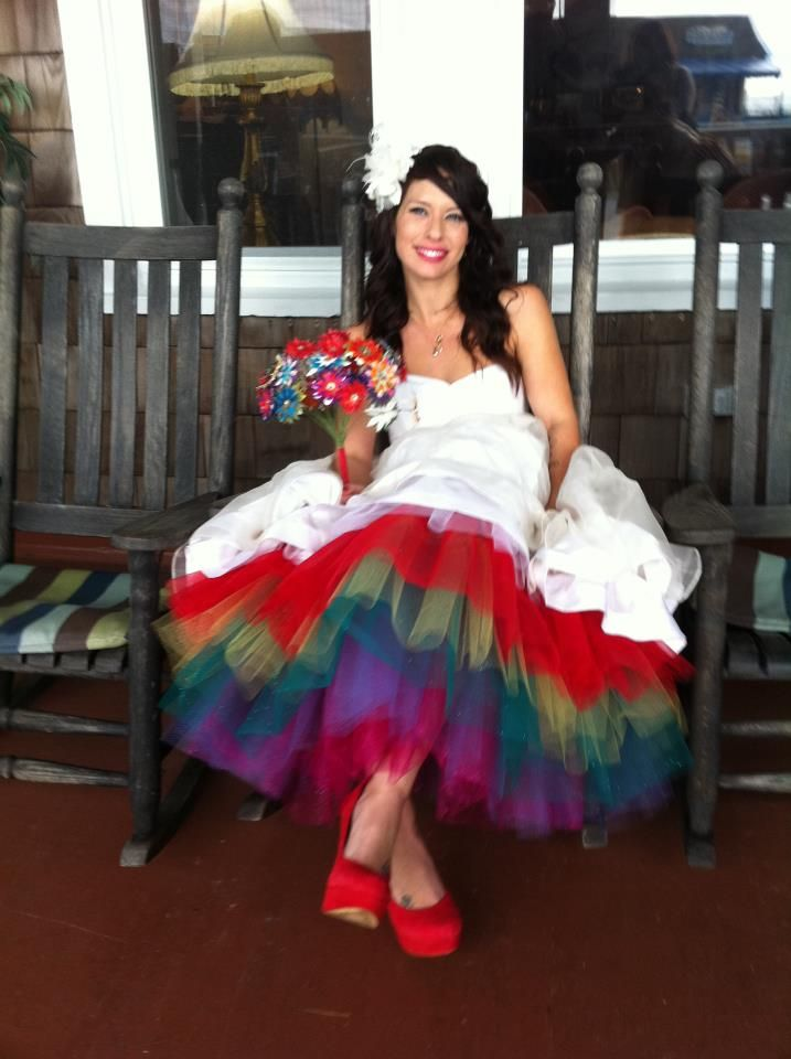 Rainbow tulle wedding dress by stephanie james my say for Rainbow wedding dress say yes to the dress