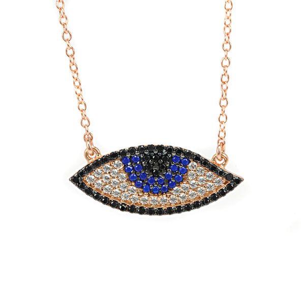Κολιέ  μάτι ροζ επιχρυσωμένο ασήμι 925 μπλε ζιργκόν