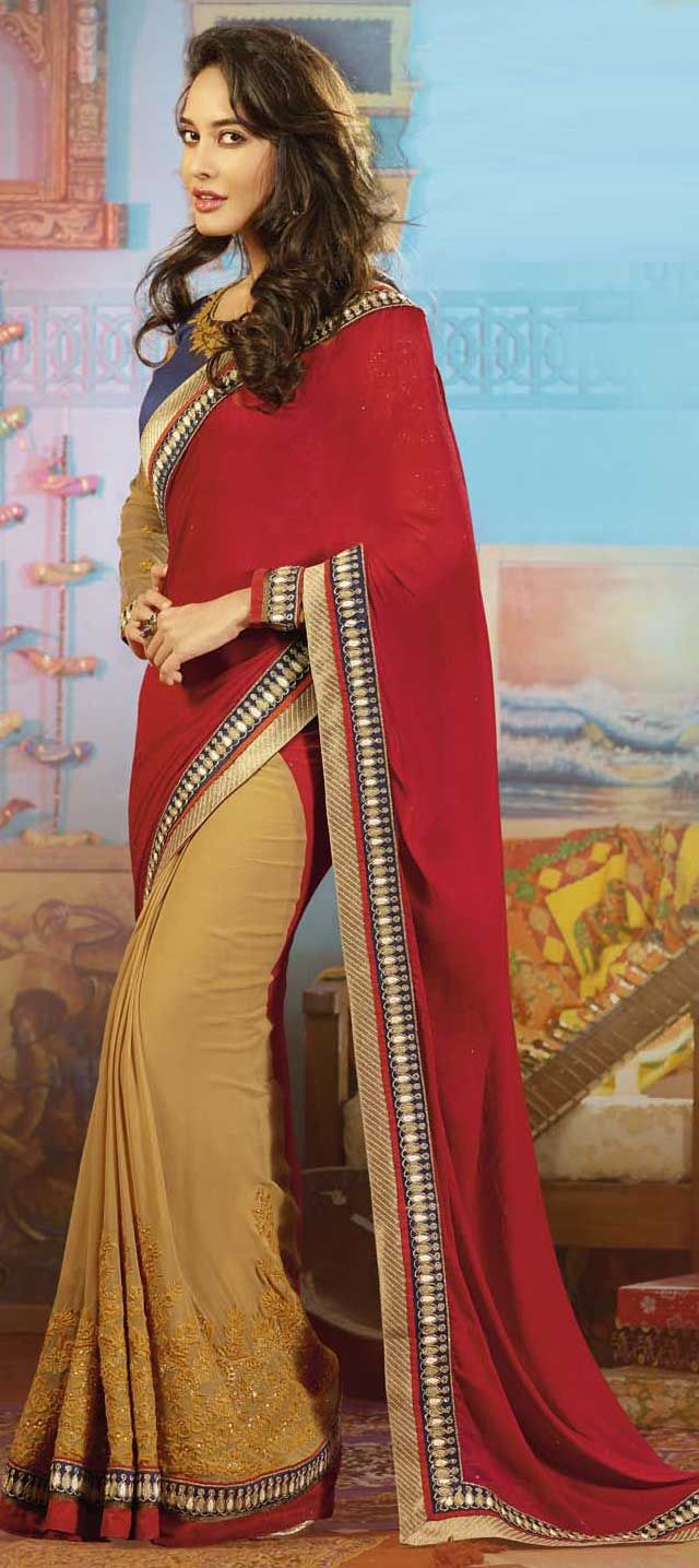 141036: Red and Maroon, Beige and Brown color family Saree with matching unstitched blouse.