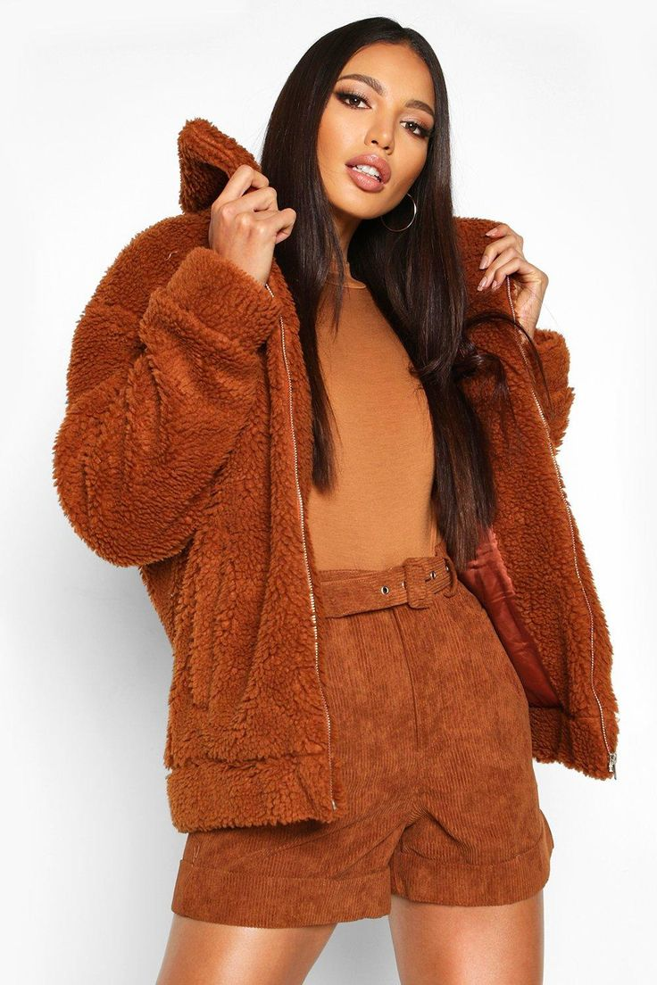 Womens Oversized Teddy Faux Fur Bomber Jacket brown 8