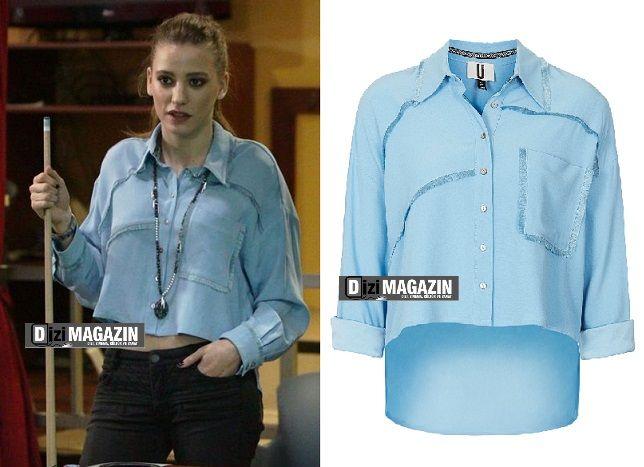 Medcezir 25 .bolum Mira ( Serenay Sarıkaya ) Mavi Gömlek - Topshop