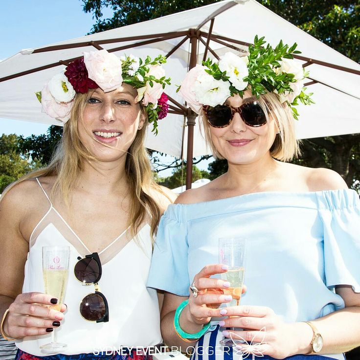 Girls drinking French champagne at So Frenchy So Chic, a French festival of food, wine and music held at Bicentennial Park Glebe on Saturday 21 January 2017.