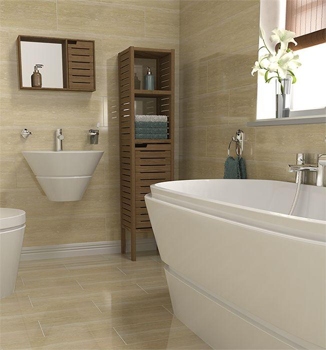 'Travertino Classico' wall tiles can make a small bathroom appear larger #bathroomtiles.  Per info su realizzazioni simili www.sitemitalia.net