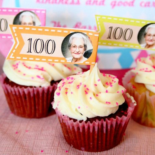 100th Birthday Cupcake Toppers