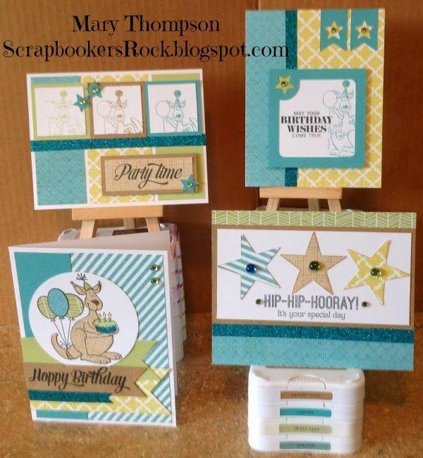 Hoppy Birthday stamp set with Skylark paper. I need to get this stamp set!