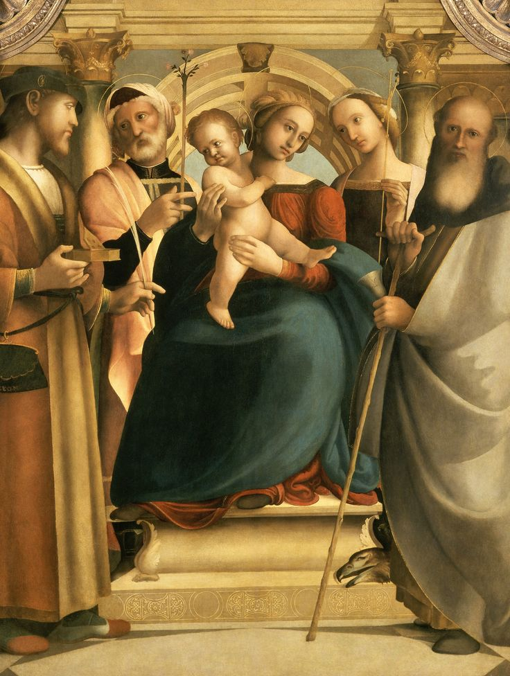 Madonna Enthroned with Christ Child and Saints Pantaleon, Joseph, Prisca, and Anthony Abbot by Girolamo Genga