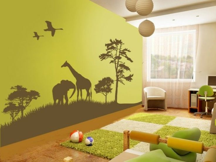 A Kids Jungle Wall Same Page Gr Rug Cut As Path Through Room