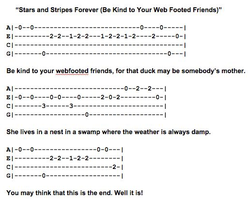 Stars and Stripes Forever Ukulele Fingerpicking Pattern