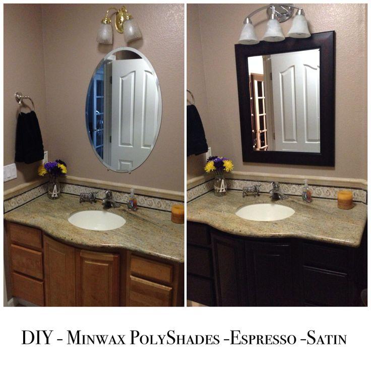 Photos Of DIY u Bathroom cabinet light to dark conversion Using MinWax PolyShades u Stain Polyurethane u Espresso color u Satin finish Used coats of finish for