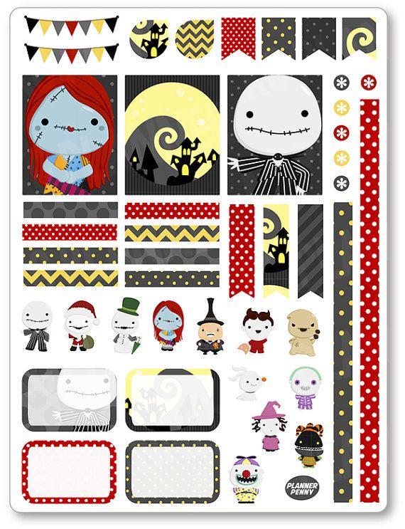 Nachtmerrie Jack Decorating Kit / wekelijks verspreid Planner Stickers voor Erin Condren Planner, Filofax, Plum papier