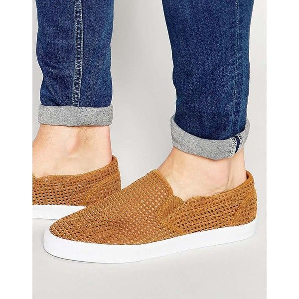 ASOS Slip On Plimsolls In Tan Perforated Faux Suede ($29) ❤ liked on Polyvore featuring men's fashion, men's shoes, men's sneakers, tan, mens perforated shoes, mens canvas sneakers, mens slipon shoes, mens tan shoes and mens slip on sneakers