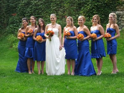 Different color bridesmaid dresses same style of music