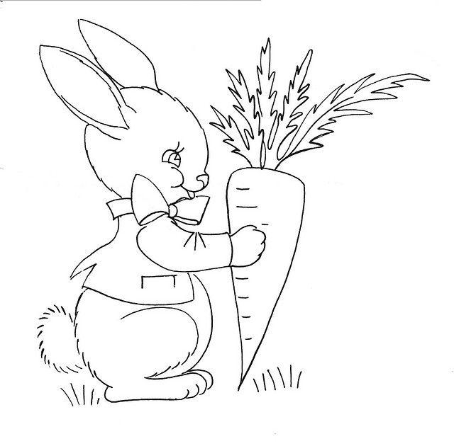 Зайчик с морковкой картинки раскраска