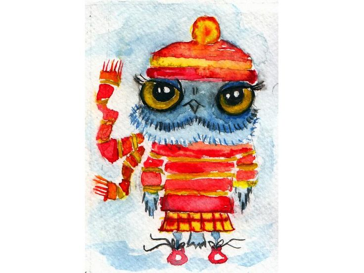 ACEO Sweet little owl, original watercolor painting