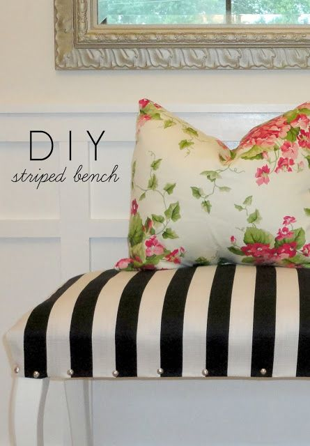 Upholstered Striped Bench http://pinterest.com/cameronpiano