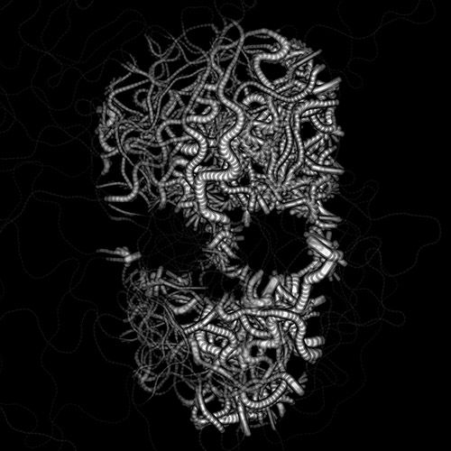 Worm skull. A still from a processing sketch using a new behavior I wrote for Hype, HColorLightness