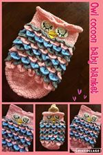 Pink, grey and Light Blue baby owl  Great for baby showers, newborn photo shoot or just because you love the new little bundle of joy in your life.