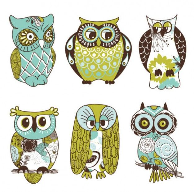 Cute cartoon owls wall decal set green owl stickers for your kids bedroom