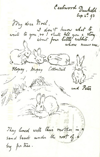 The first page of the original Peter Rabbit picture letter from Beatrix Potter to Noel Moore, 1893