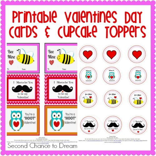 Free Printable Valentine's Day Cards and Cupcake Toppers