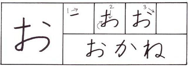 How to write hiragana: a, i, u, e, o -  あ、い、う、え、お: How to write hiragana: o お