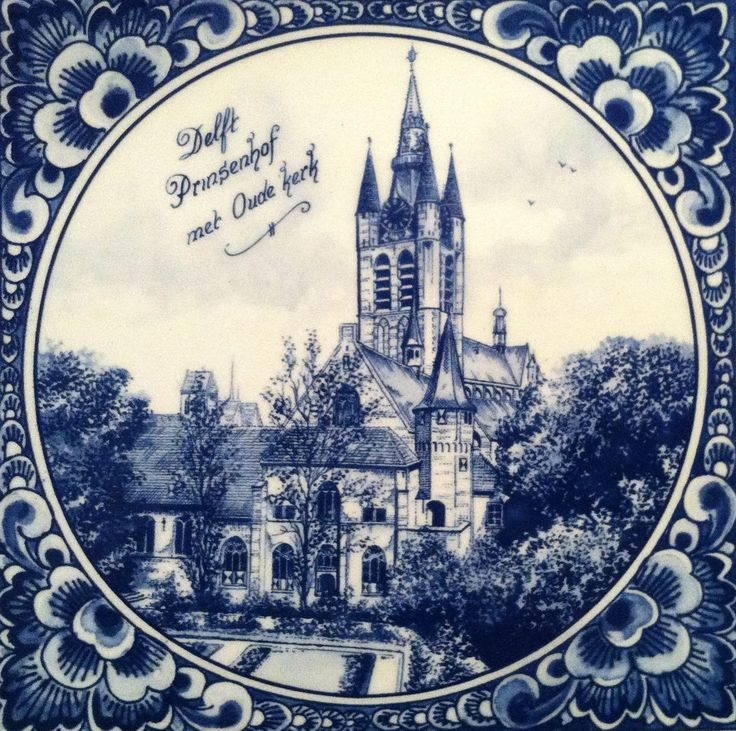 Tegel, Delft Prinsenhof met Oude Kerk, Delfts blauw