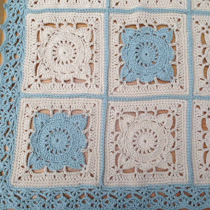 Willow Square from Jan Eatons book: 200 Crochet Squares, and the border is No 93 from Edie Eckman's Around The Corner book