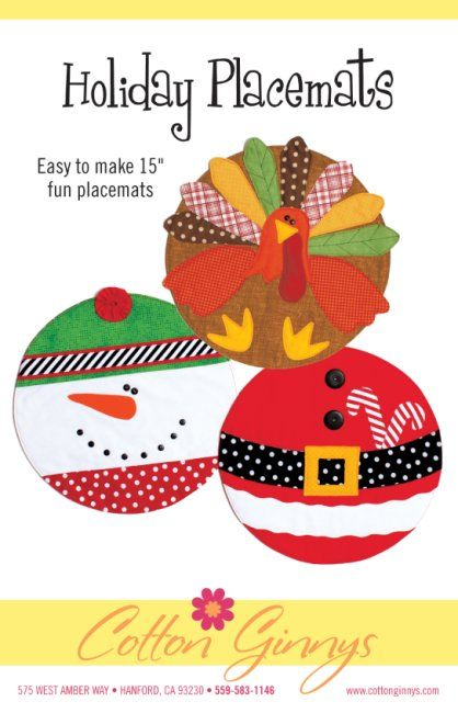 Cotton Ginny's Holiday Placemats The Pattern Hutch children kids turkey Thanksgiving snowman Santa Christmas craft pattern