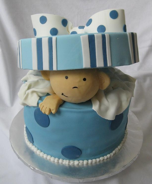 Baby Shower Cakes Durham Nc ~ Baby peeking out of hat box cakes and desserts