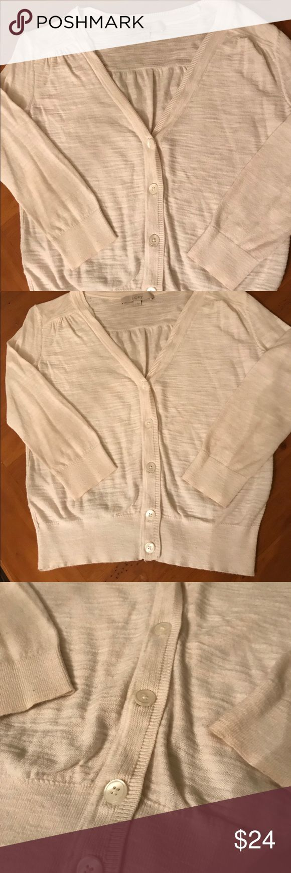 LOFT Long-sleeve Cardigan LOFT Long-shelve Cardigan. Size Small. White cream color. Perfect condition, with original buttons! 😍Adorable over a strappy top! Must Have! LOFT Sweaters Cardigans